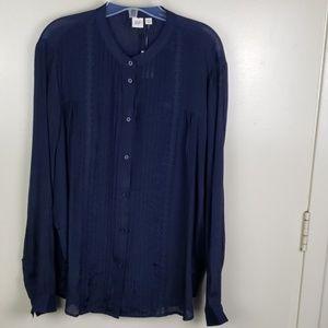 Gap pintuck lace blouse